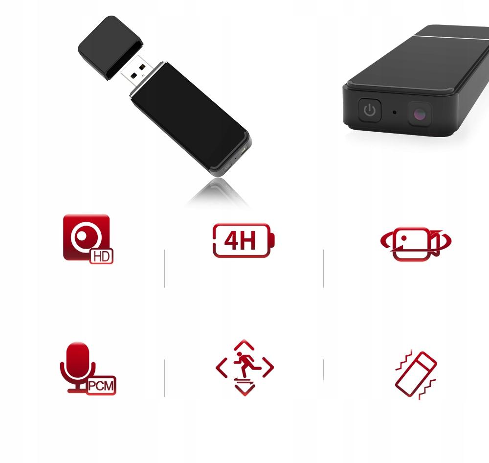 PENDRIVE MINI KAMERA USB FULL HD DETEKCJA DO 128GB Model UC-60