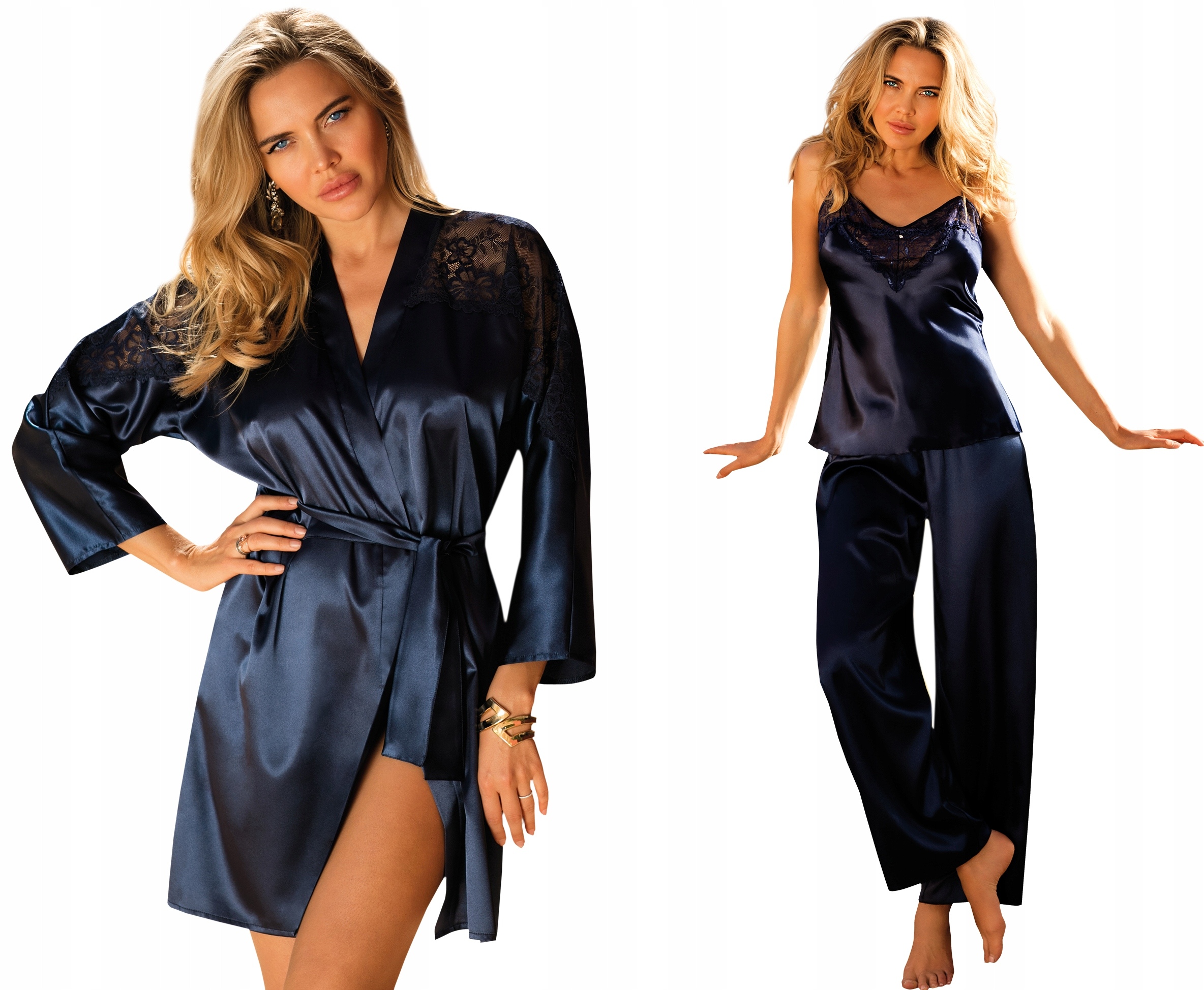 Zestaw piżama CAROLINE+szlafrok Alexandra XLsatyna