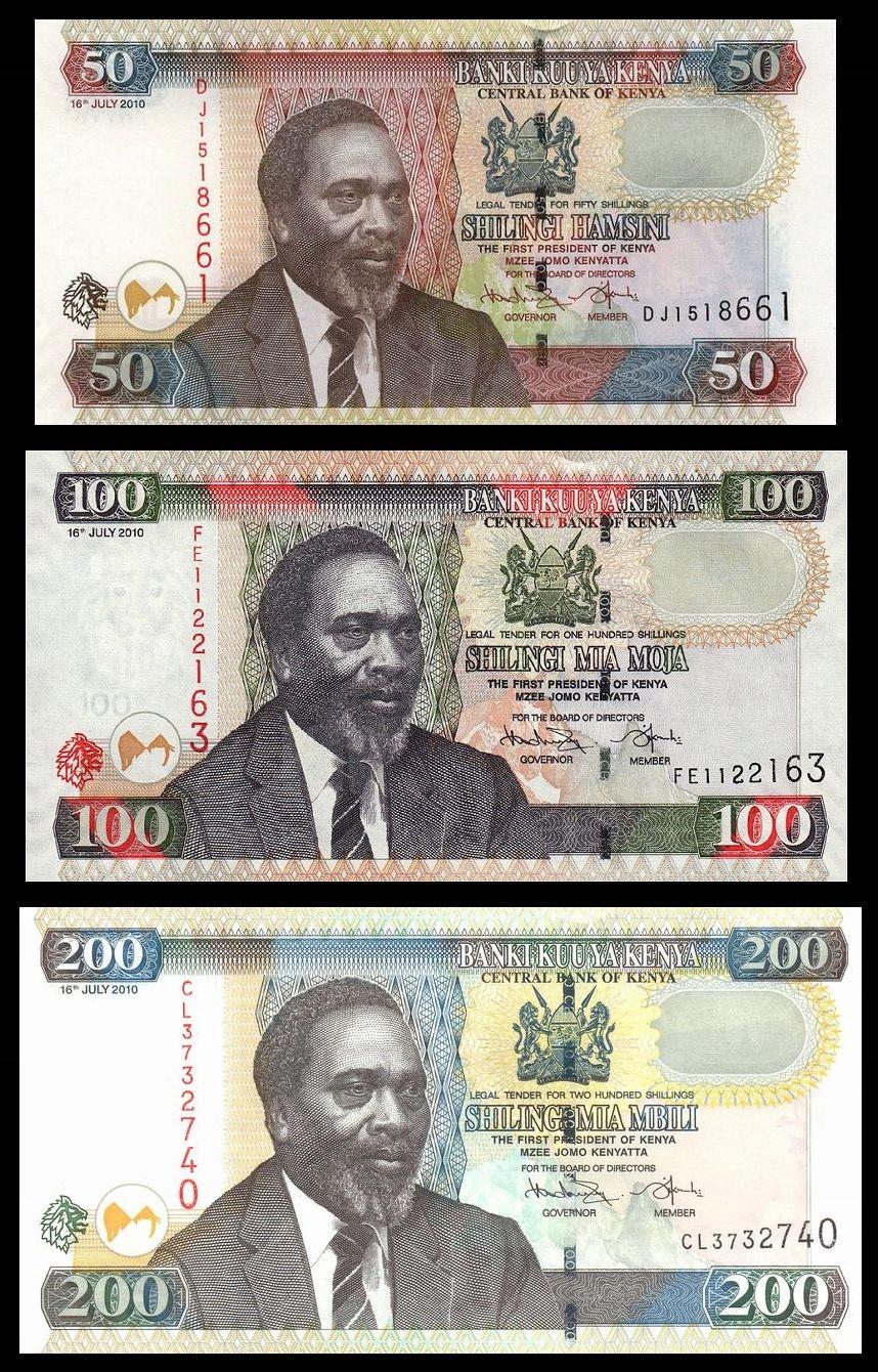 KENIA KENYA ZESTAW 50 100 200 Shillings 2010 UNC