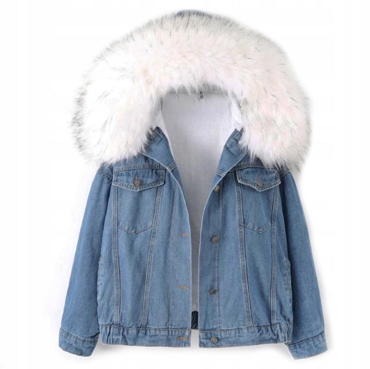 dżinsowa kurtka z kozuchem damska