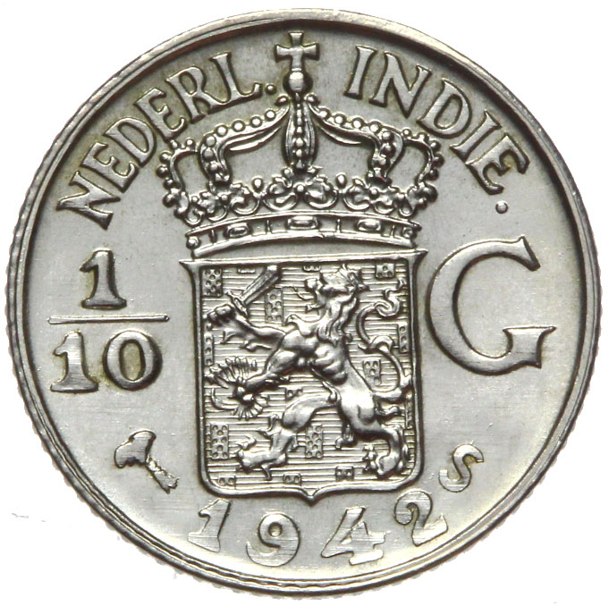 India Hol. 1/10 Gulden 1942 S - СЕРЕБРО - MENNICZA