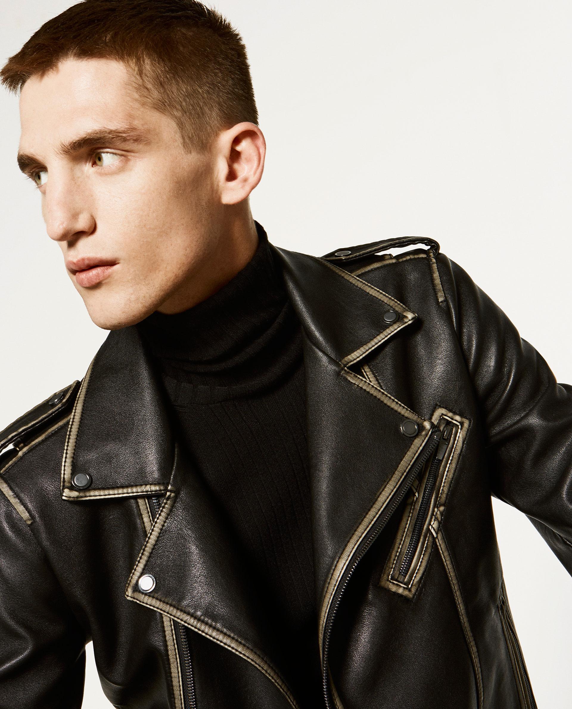 44w ZARA MUŽ čierna bunda vintage špeciálne oblečenie pre motocyklistov M