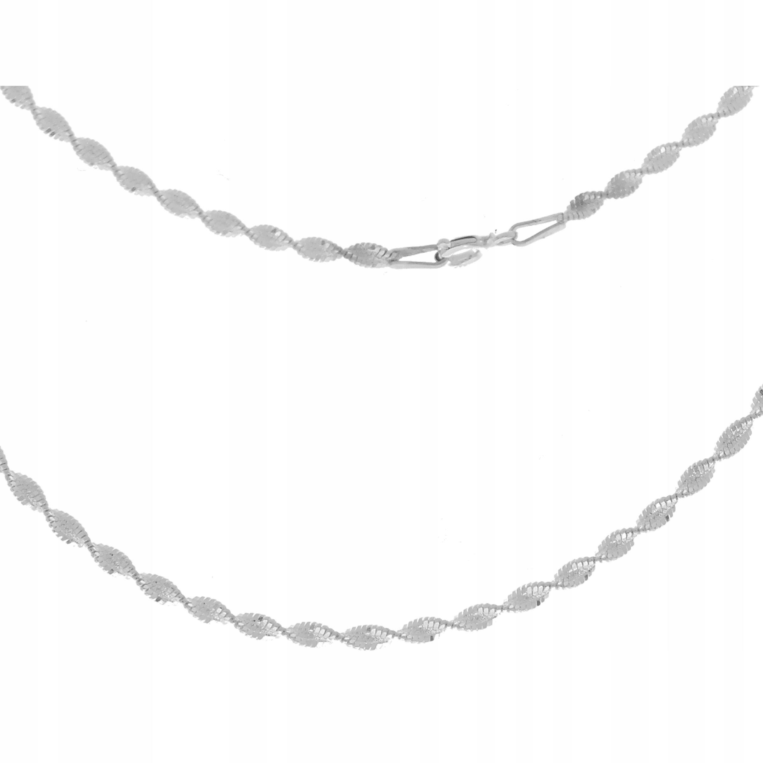Łańcuszek Diamentowany Skręcany 40 CM Srebro 925