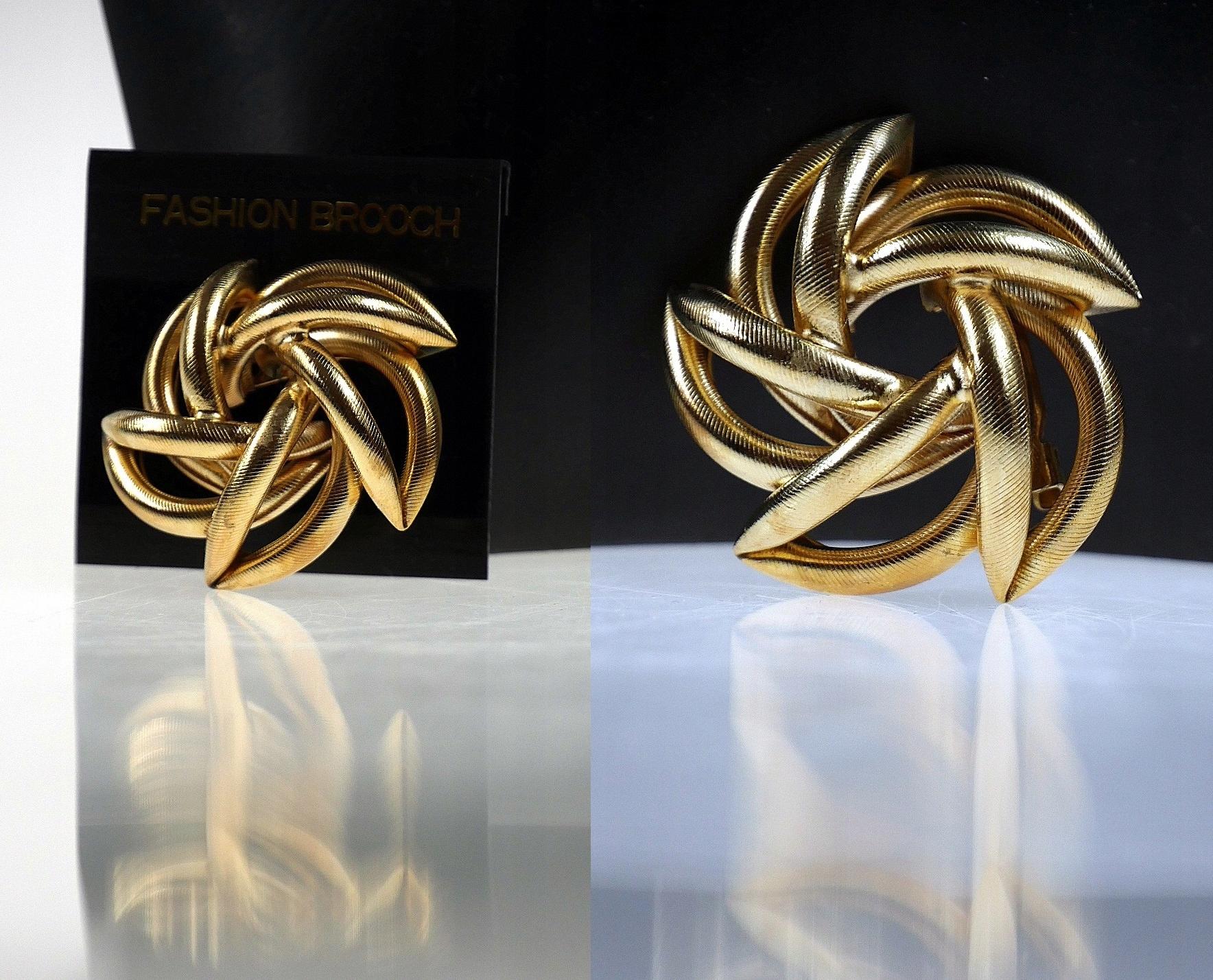 Dizajnová zlatá brošňa SPIRAL CIRCLE retro zlato