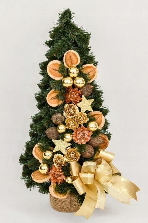 Zdobený umelý kužeľovitý vianočný stromček Zlato 50 cm