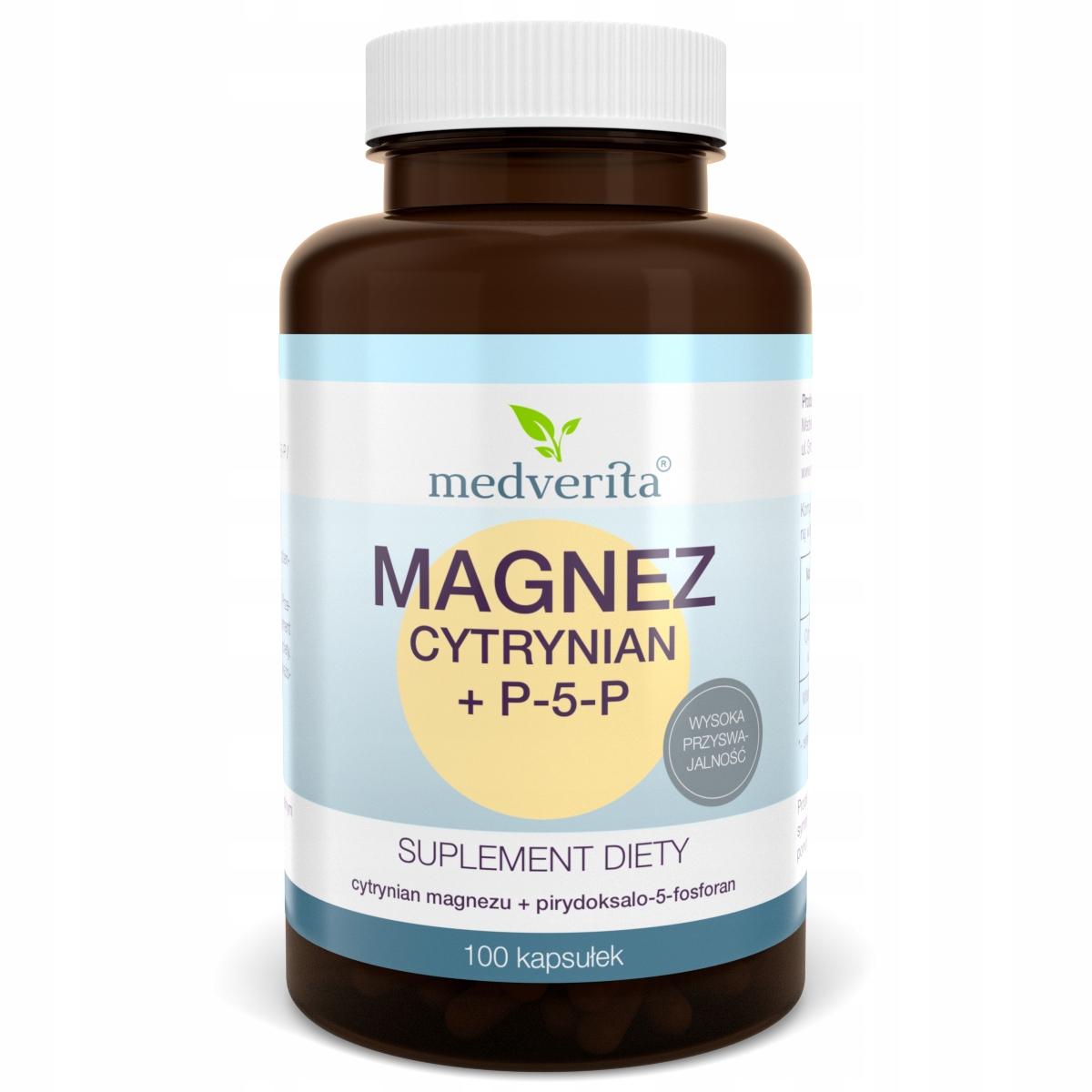 Magnez cytrynian magnezu + P-5-P B6 - 100 kapsułek