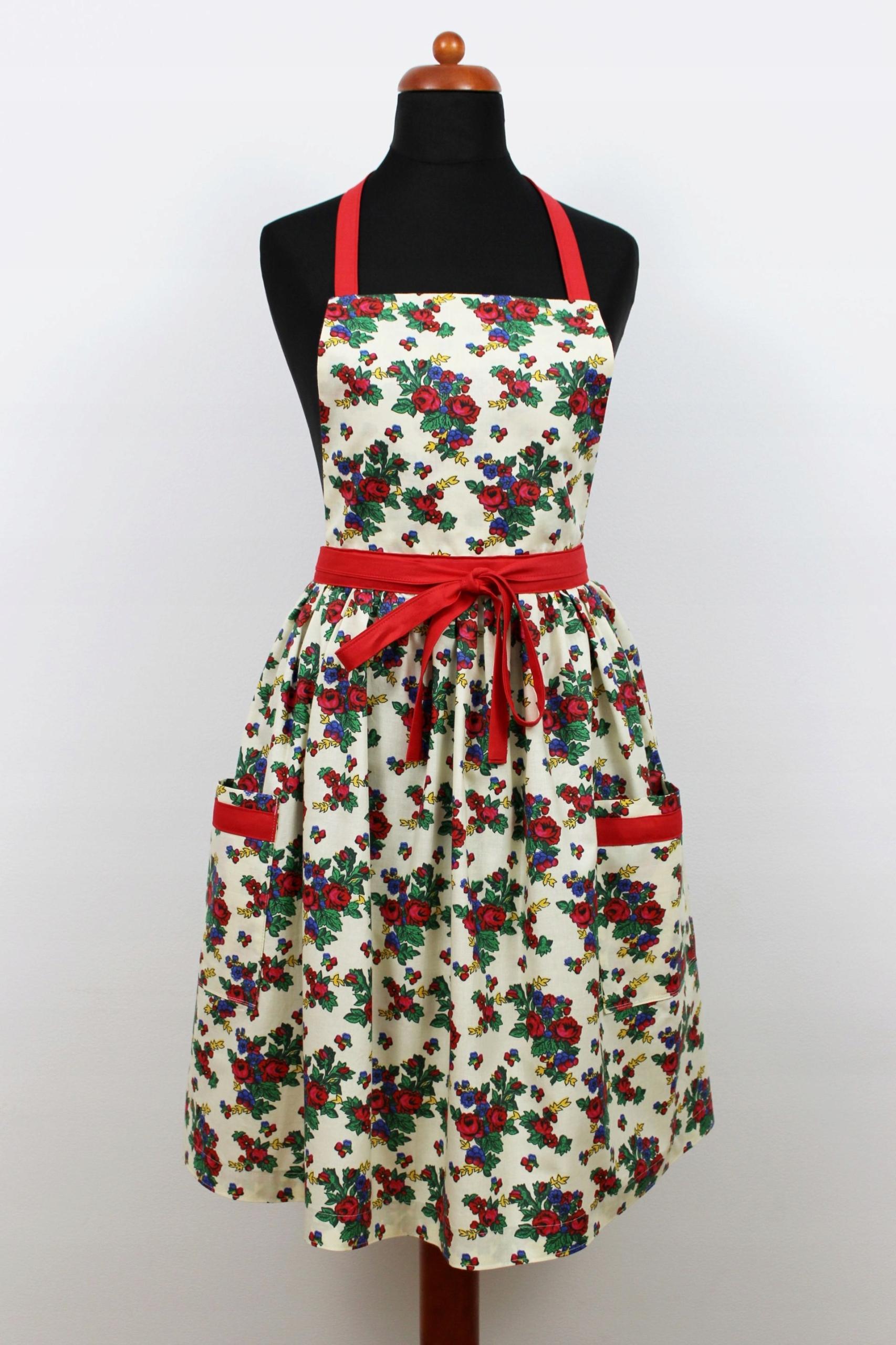 Zástera ľudovej retro šaty, kvety, vrecká