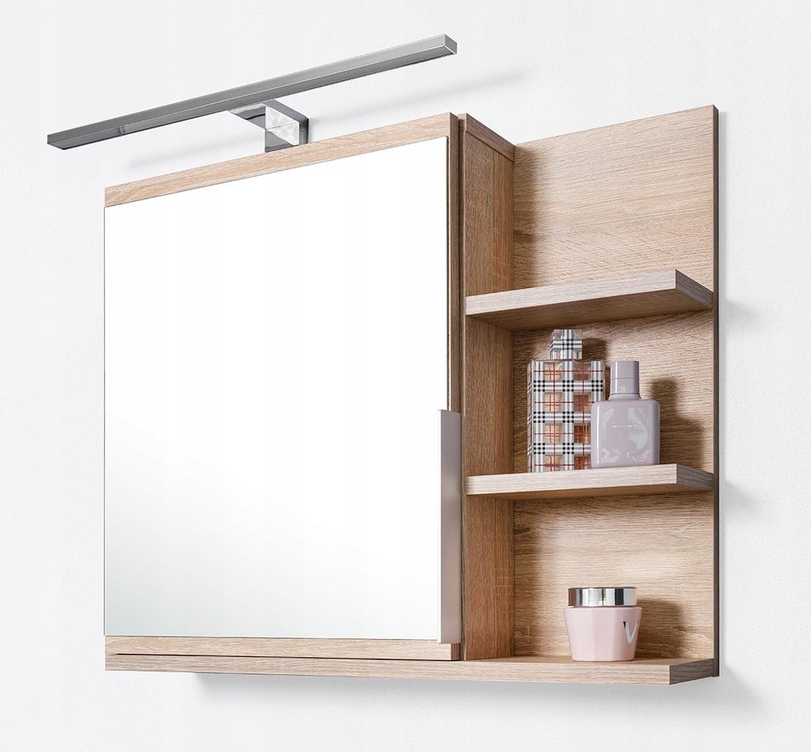 Szafka z lustrem, szafka łazienkowa, LED, sonoma