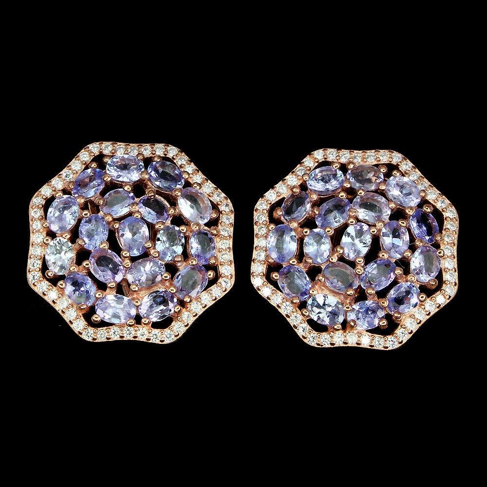 925 sterling silver náušnice prírodné tanzanity kamienkami