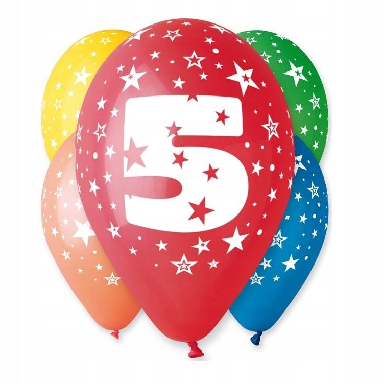 Воздушные шары на день рождения с принтом № 5 - 5 шт.