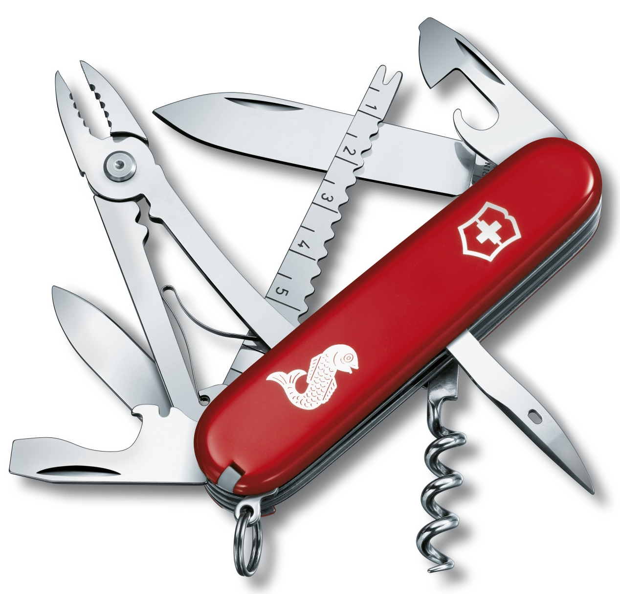 vreckový nôž Rybár, červená Victorinox 1.3653.72