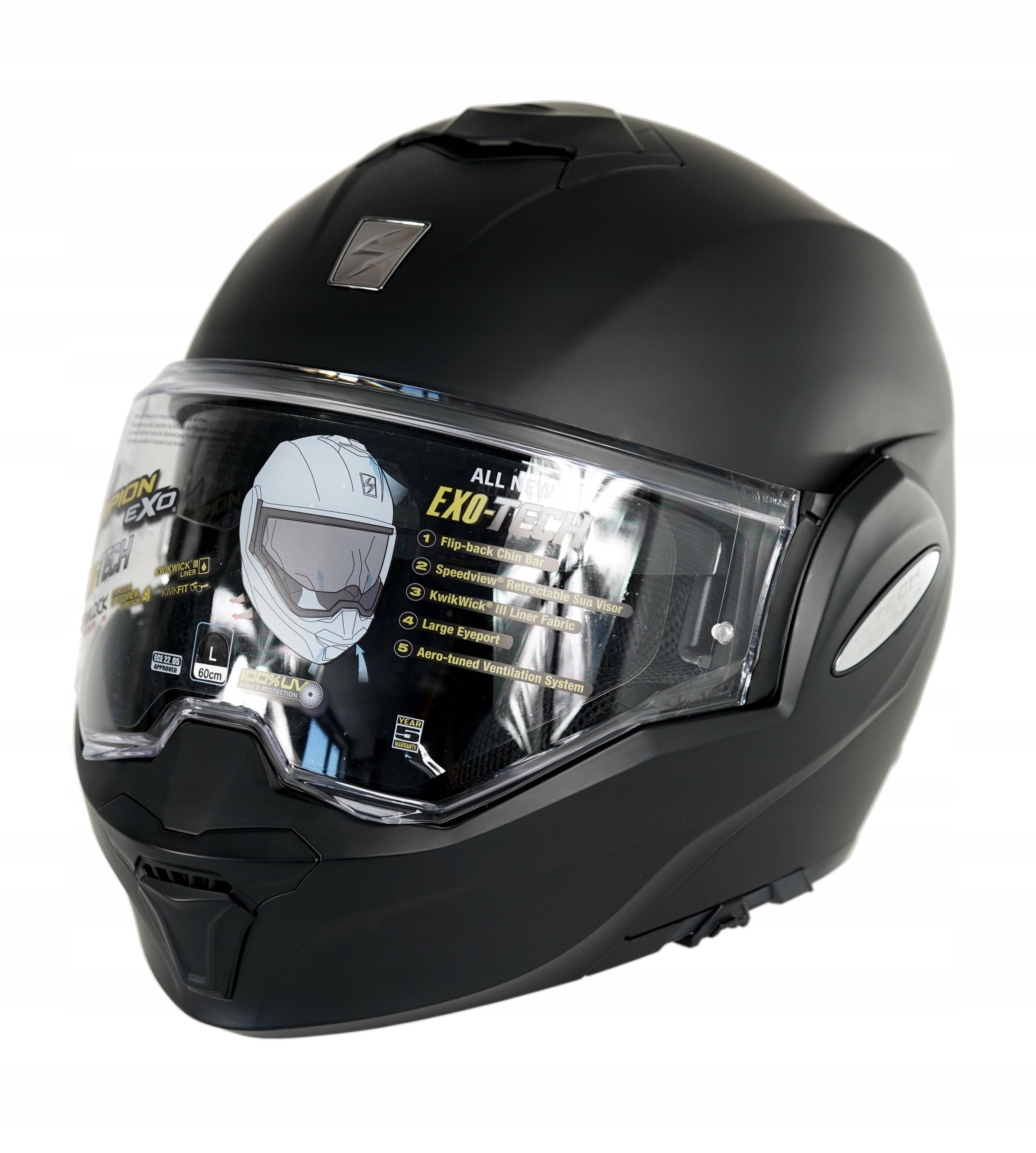 Шлем Scorpion Exo Tech модульная ECE pinlock диафрагмы