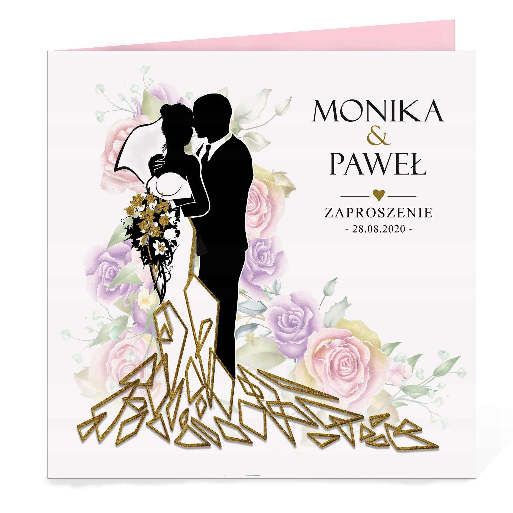 Gold Glamour Цветы Свадебные приглашения + конверт