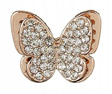 Pins przypinka Motyl w kolorze złotym z Cyrkoniami