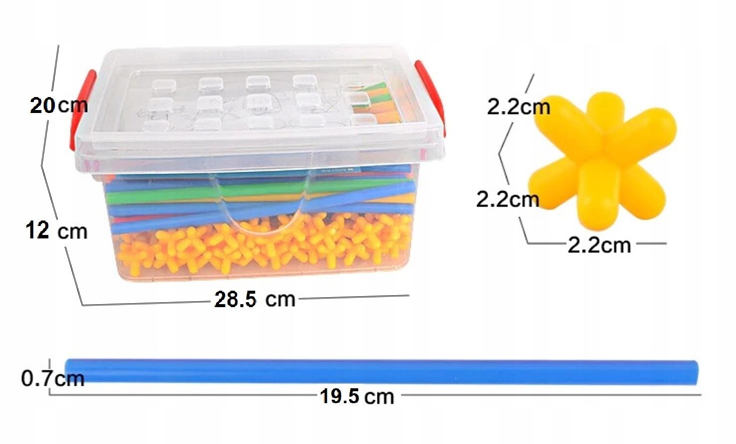 Klocki Konstrukcyjne Słomki Kuferek Zestaw 600 el Materiał Plastik