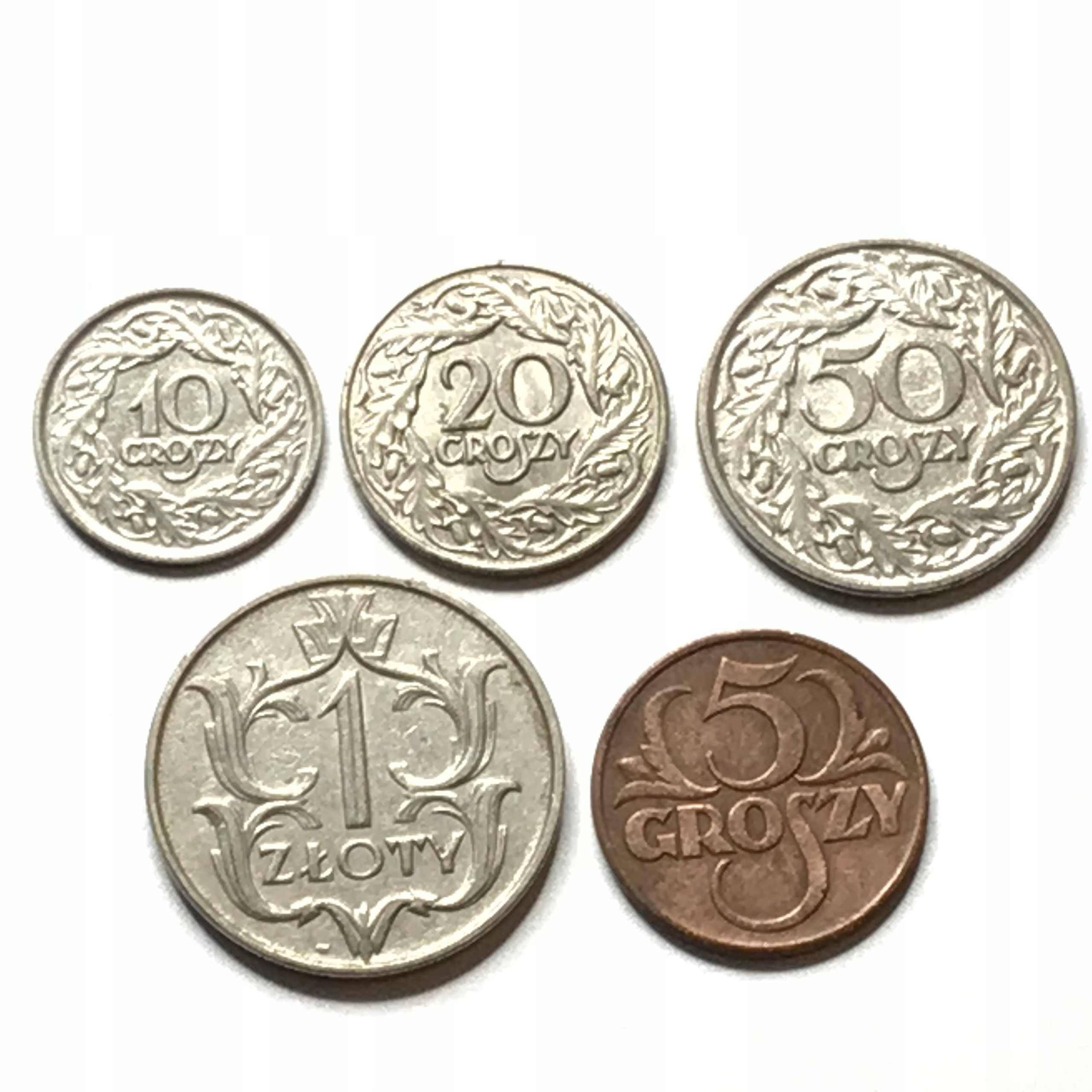 Item Set II RP 5 10 20 and 50 gr and 1 ruble 1923 - 1939