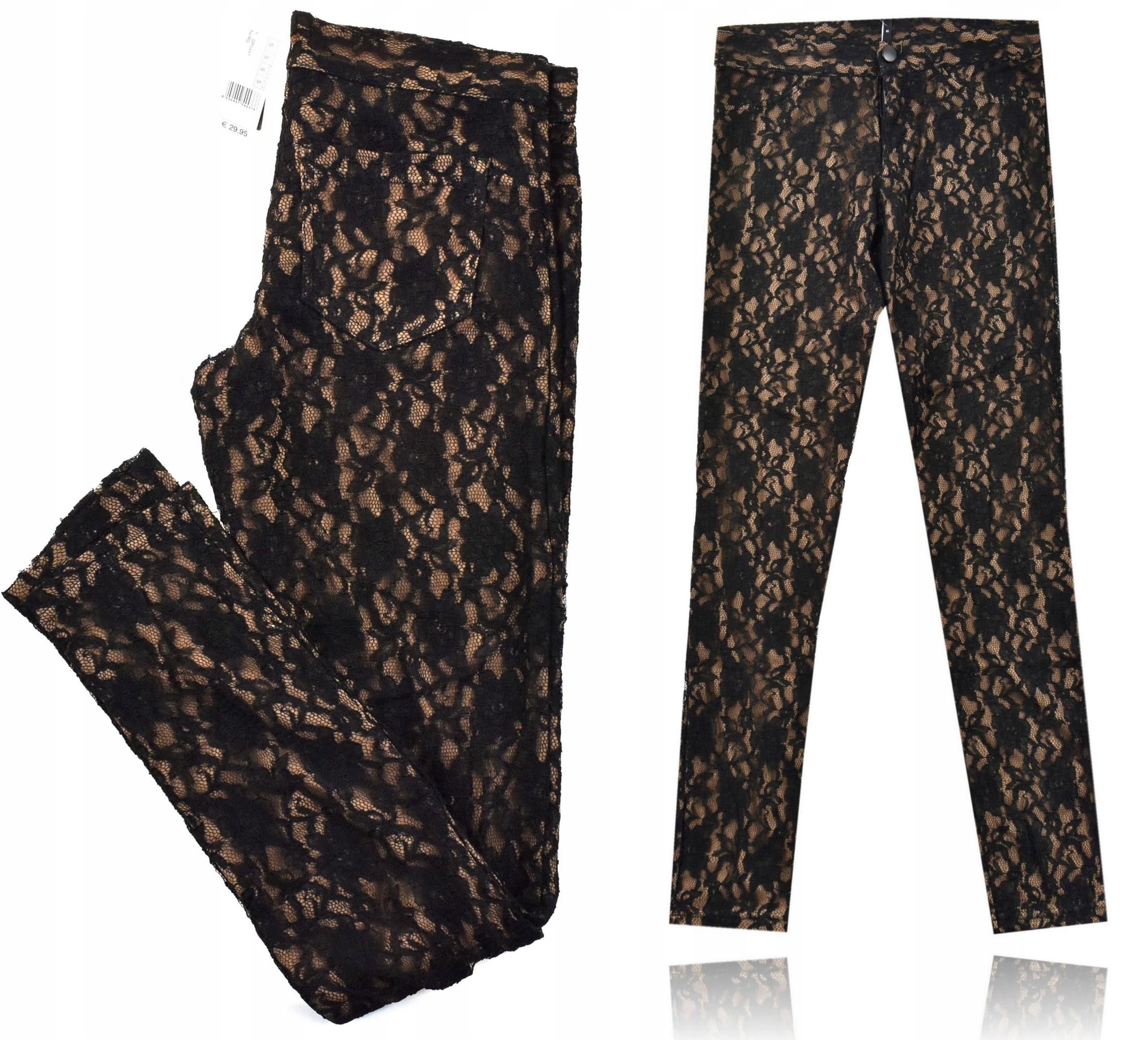 Calzedonia spodnie dwuwarstwowe koronka nude 36 S