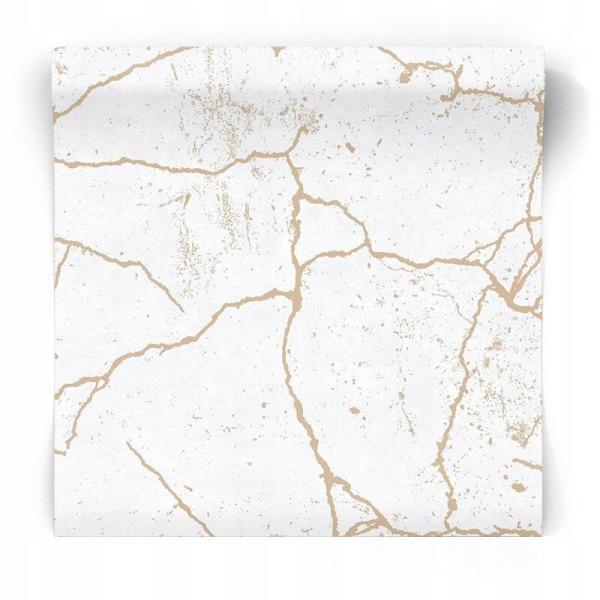 Tapeta popękany marmur ze złotem biała GLAMOUR