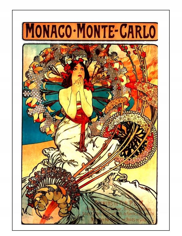 A4 PLAKAT Alfons Mucha SECESJA BOHEMA MONTE CARLO