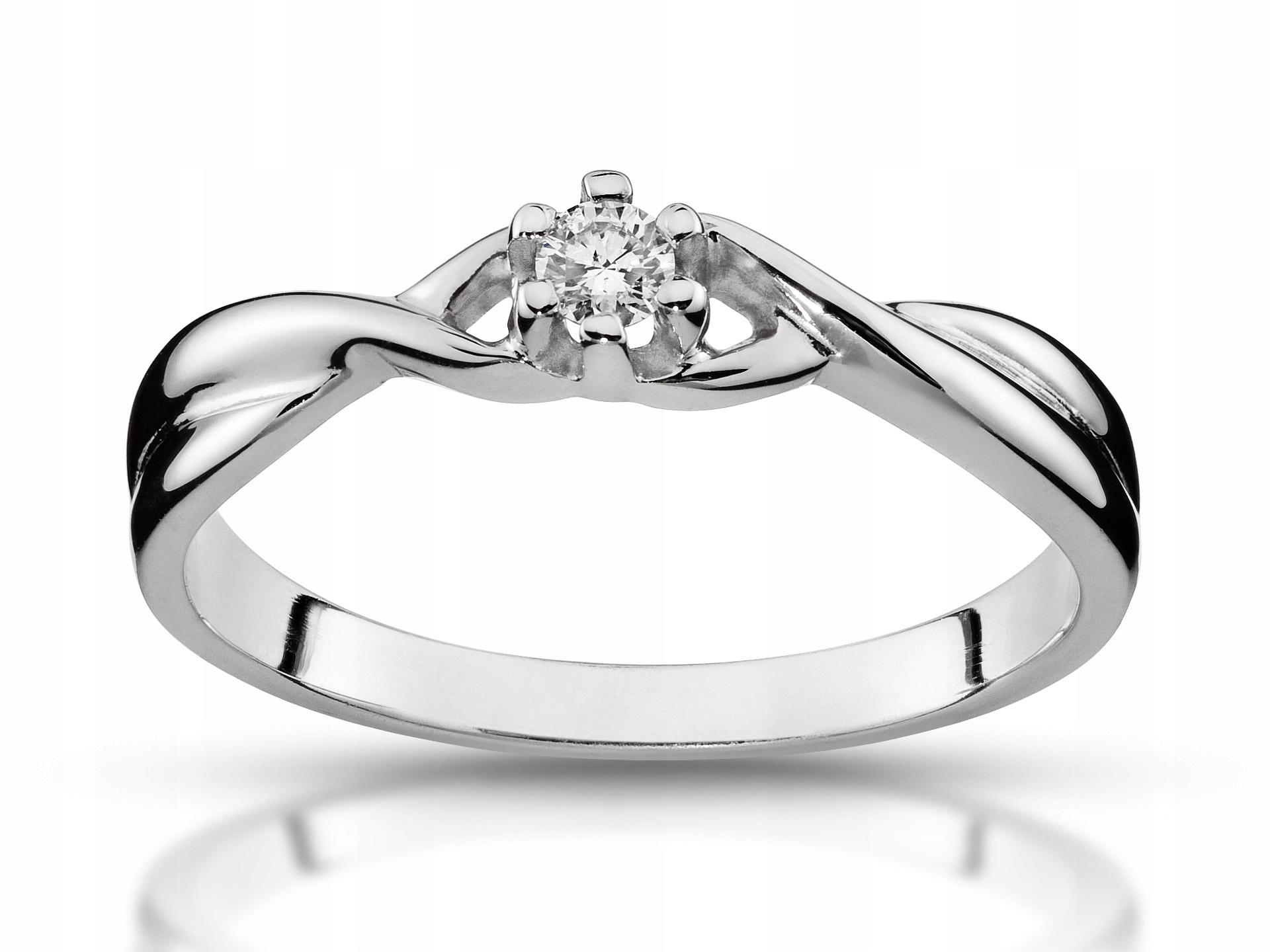 Pierścionek zaręczynowy z brylantem 0,06ct 585 Vs