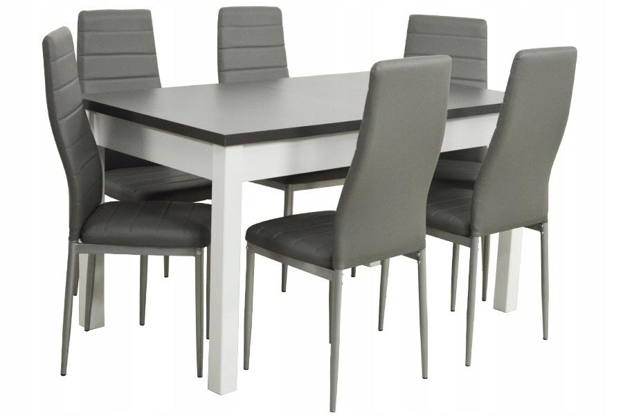 BIAŁO szary zestaw stół rozkładany 180 i 6 krzeseł