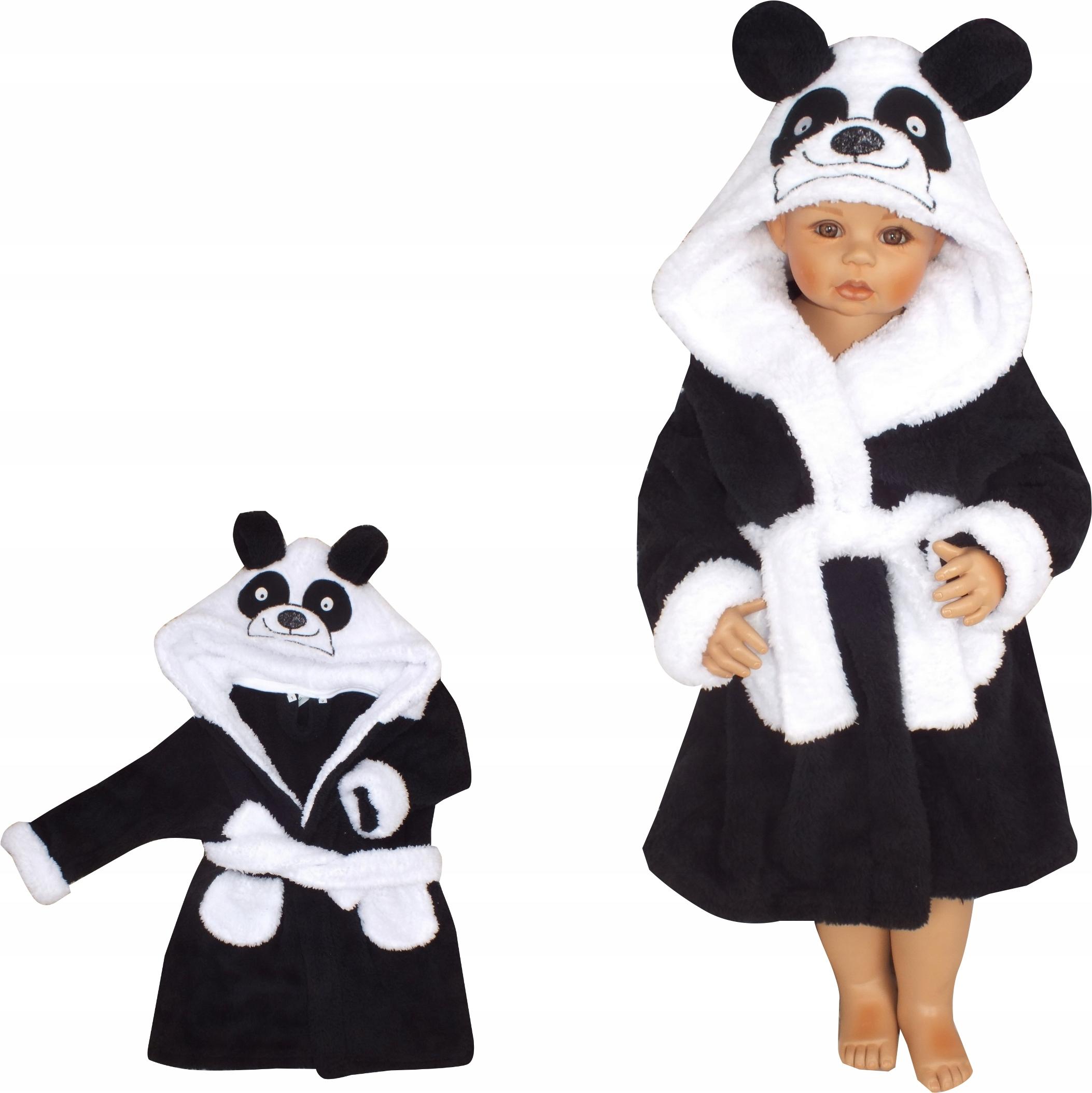 Szlafrok dziecięcy mięciutki ciepły gruby 98 Panda