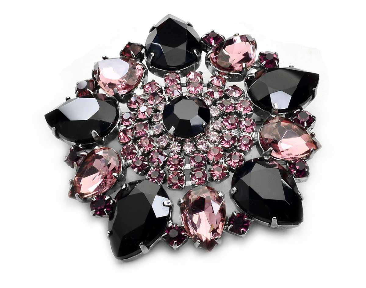 Brošňa Fialová Prachový Rose Black Veľké Manufact