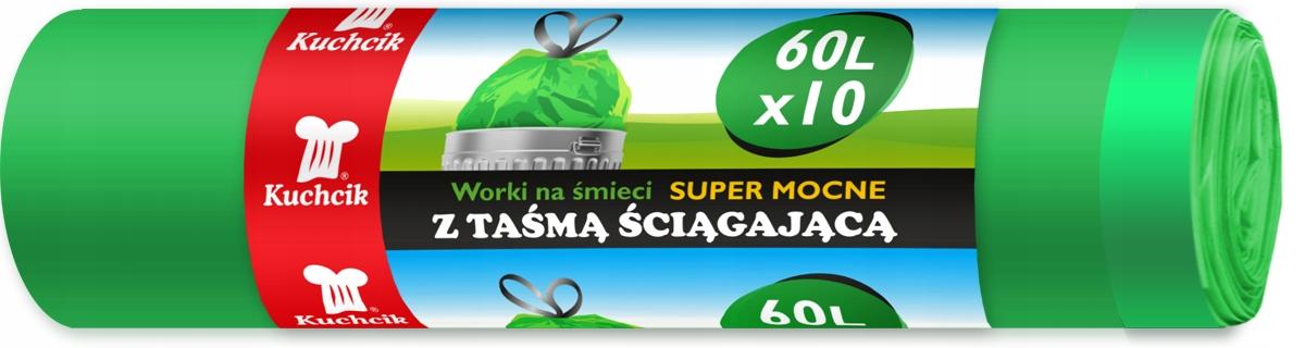 Мешки для мусора с лентой, супер прочные 60Л 10
