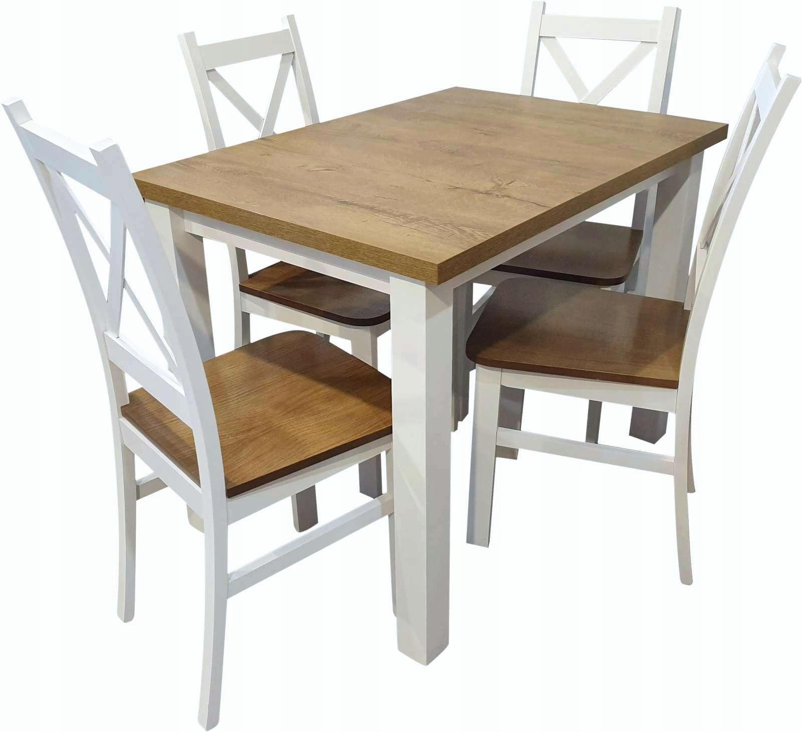 Stół z krzesłami biały dąb komplet 4 krzesła Z055