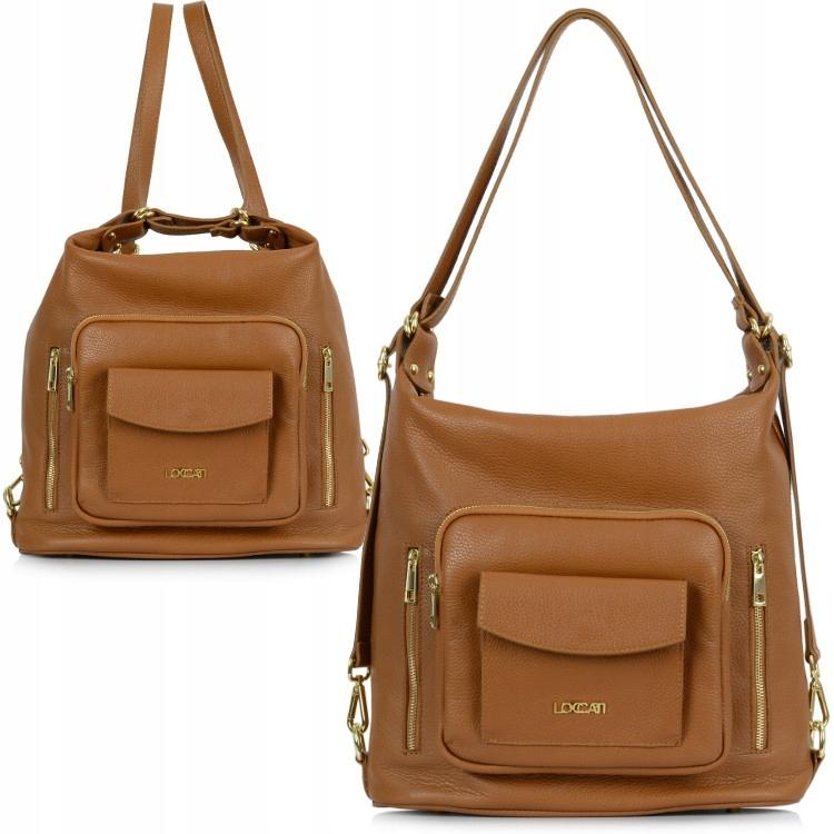 Duża torebka skórzana 2w1 torba plecak Loccati