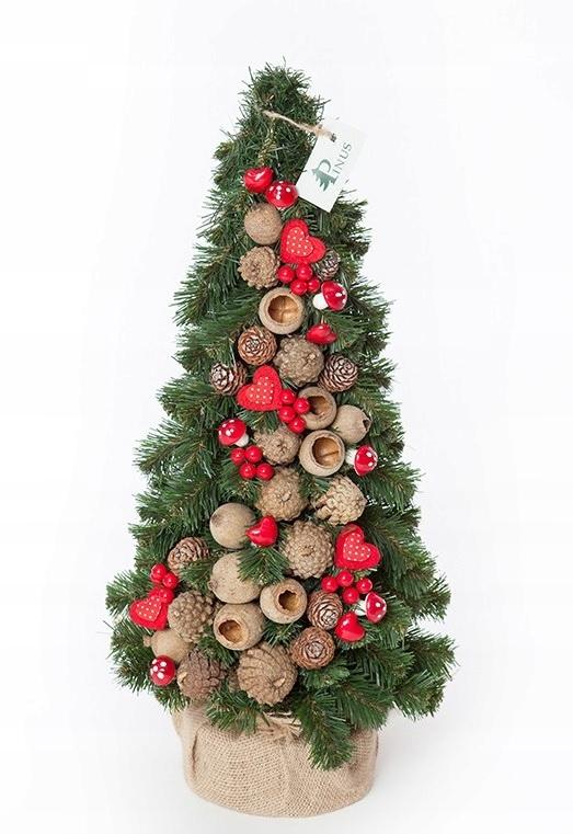 Ľudovo červený umelý kónický vianočný stromček 50 cm