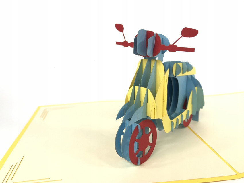 Item Greeting card 3d pop up Travel scooter Scooter