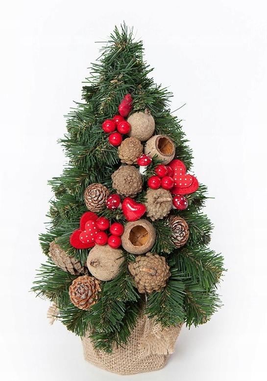 Ľudovo červený umelý kónický vianočný stromček 30 cm