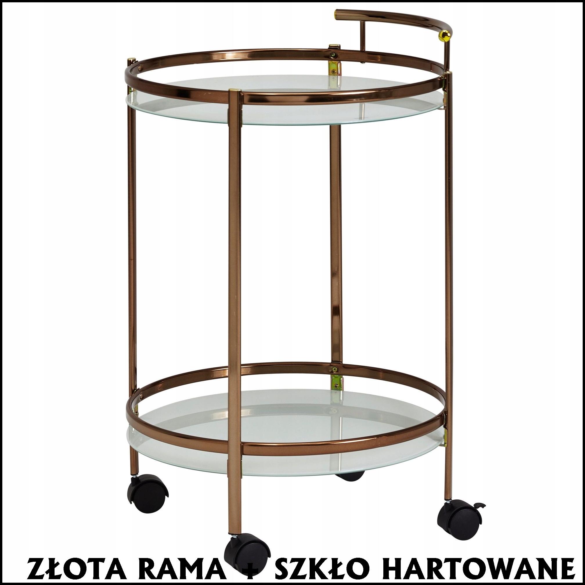 Kuchynský servírovací vozík RETRO so zlatým rámom