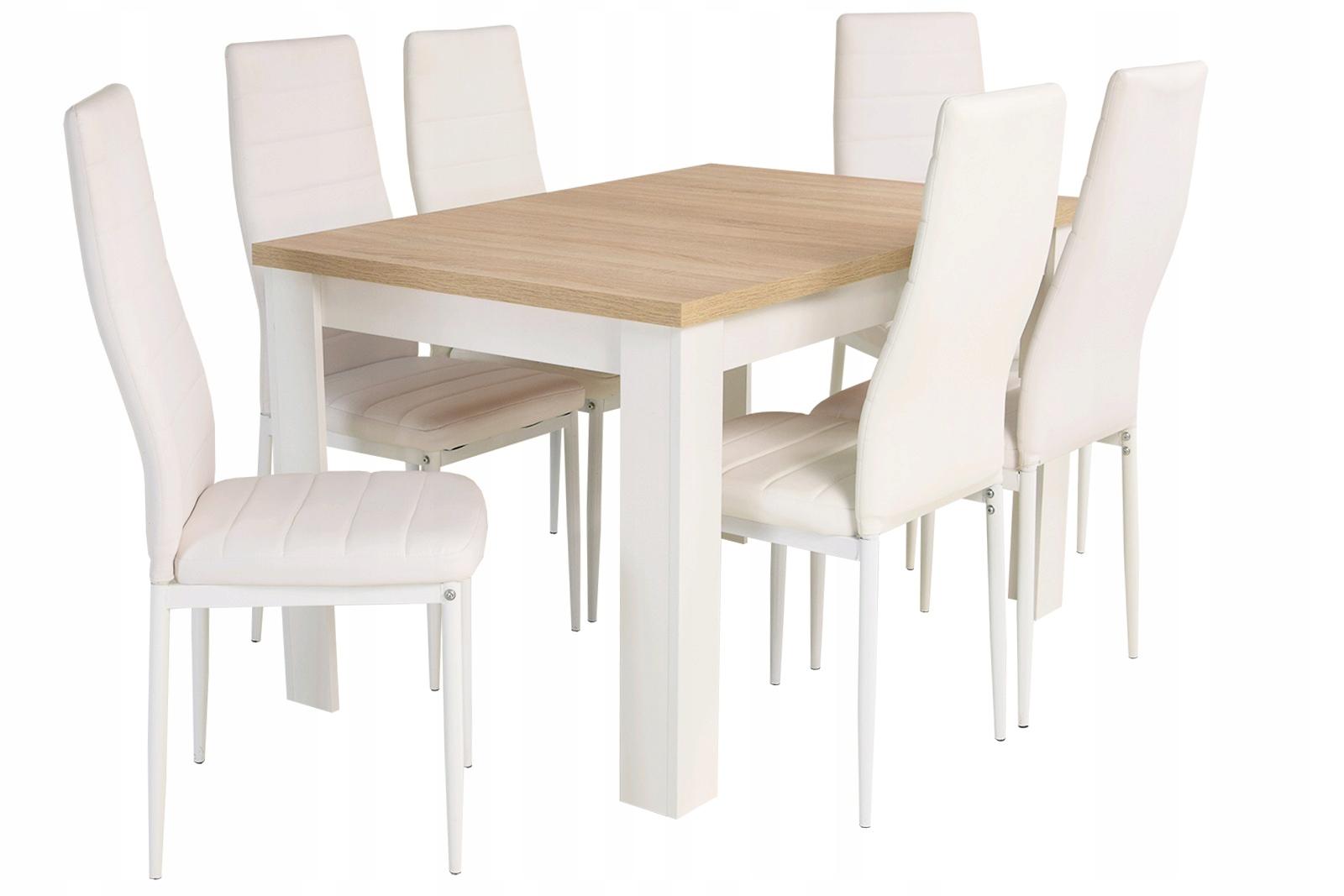 Белый комплект для салон стол 80x120x160 и 6 стулья
