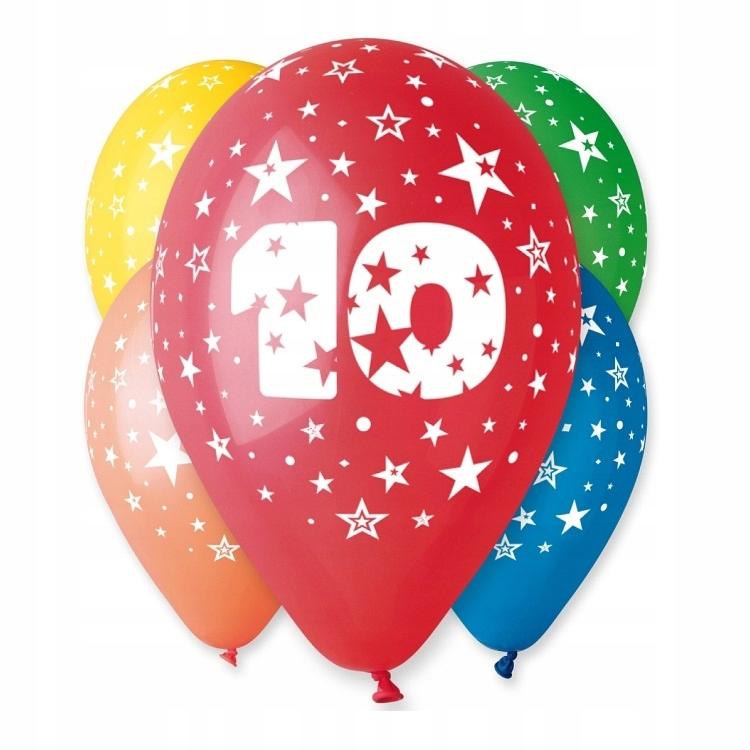 Balony Urodzinowe z Nadrukiem-Cyferka Nr 10- 5 szt