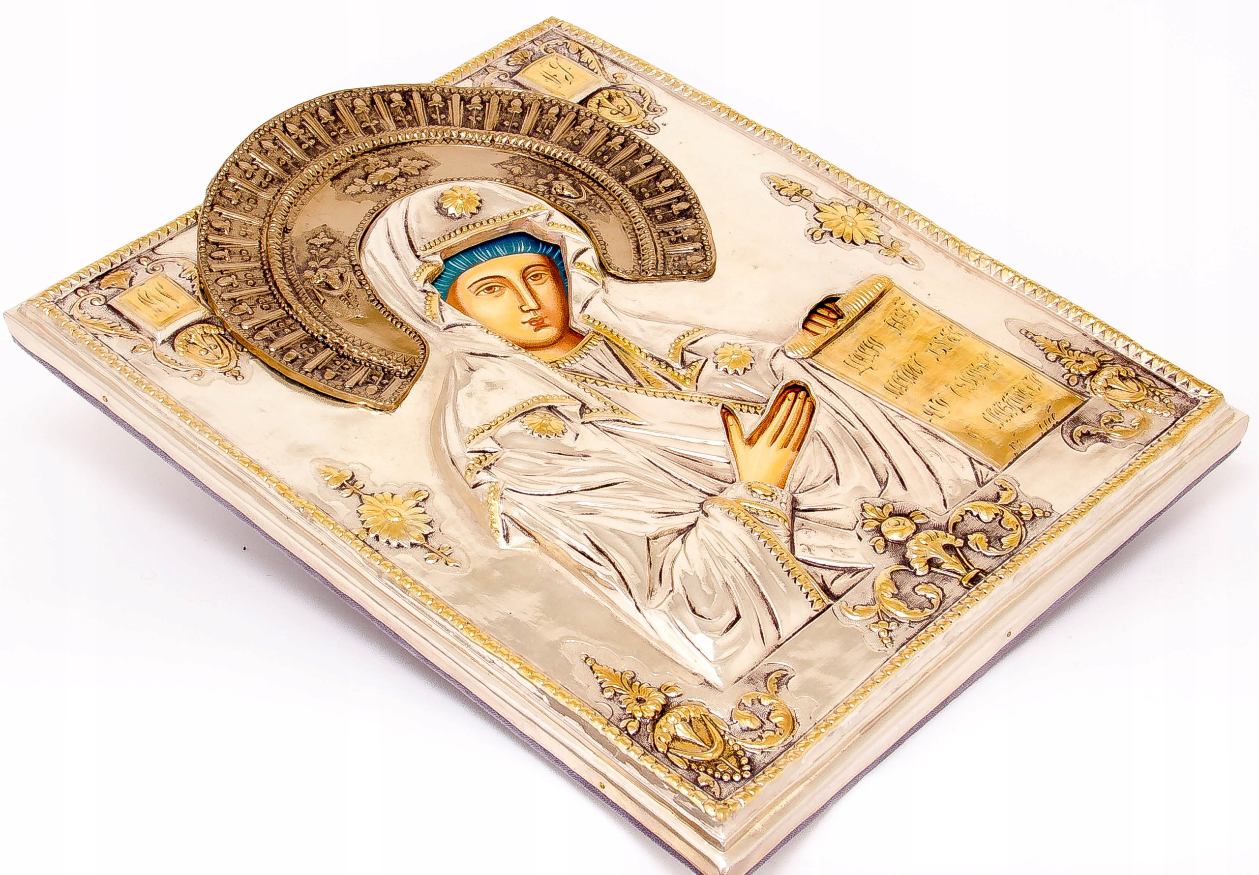 Ikona Matki Bożej Bogolubskiej SREBRO ZŁOTO nr 39 Rodzaj podobrazia podobrazie drewniane