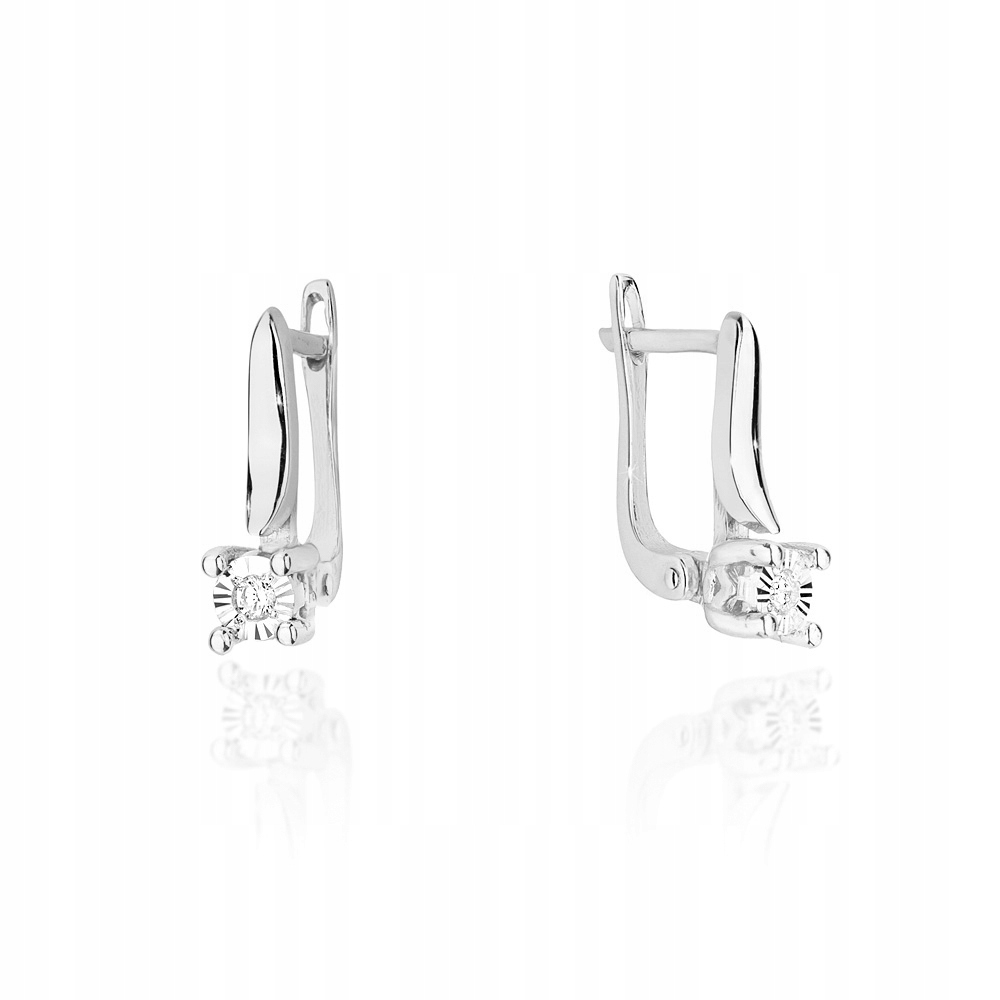 Náušnice biele zlato 585 diamanty angličtina