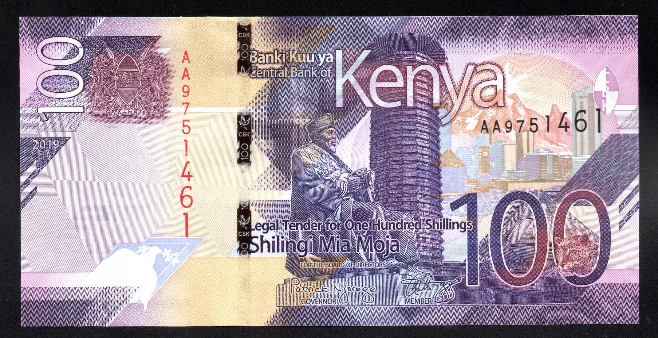 Kenia 100 SHILLINGS P-new UNC 2019 seria AA