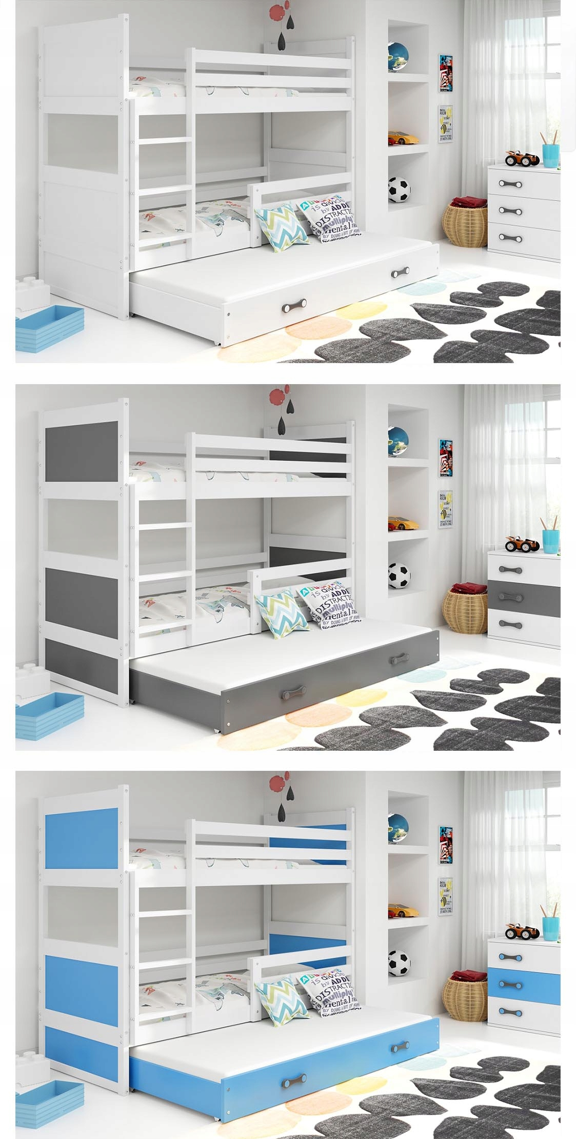 Łóżko Rico dla dzieci 190x80 piętrowe 3 osobowe Długość 196 cm