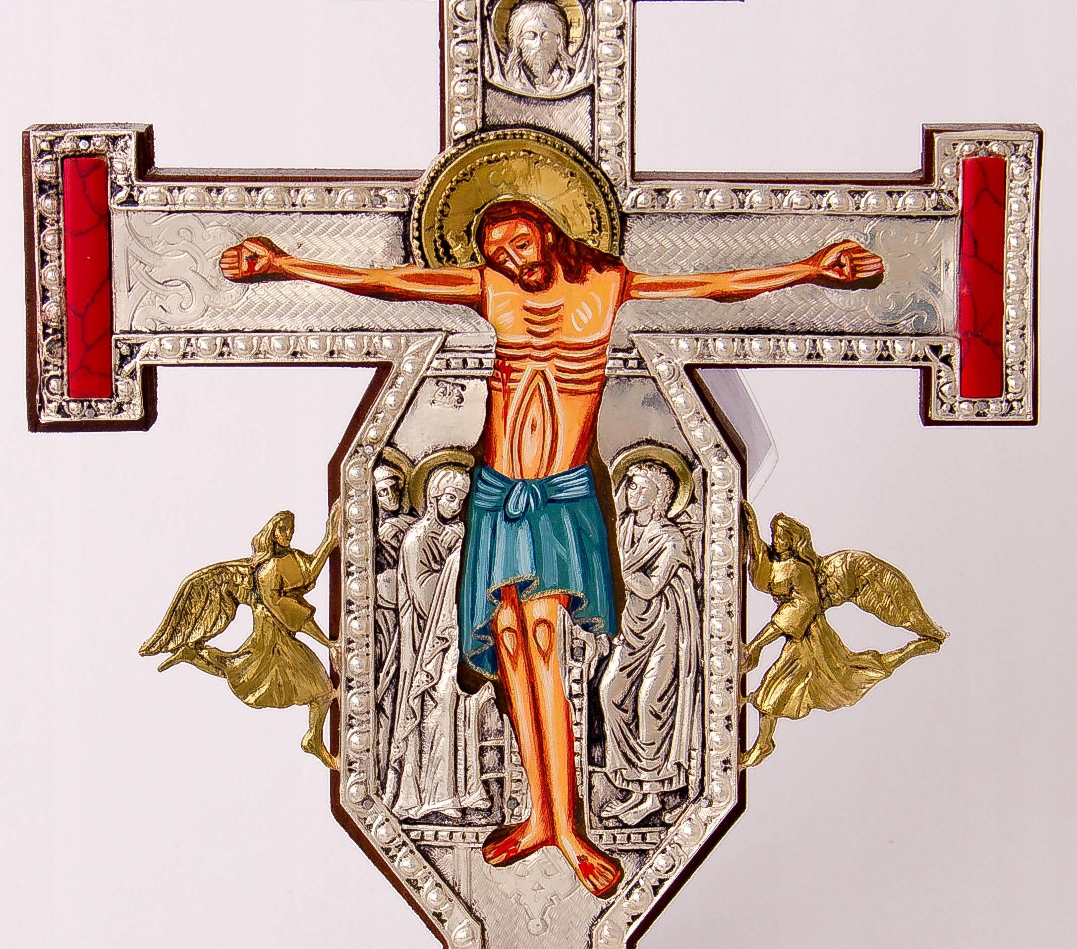 Krucyfiks gotycki KAMIENIE JUBILERSKIE nr 125P Rama bez ramy