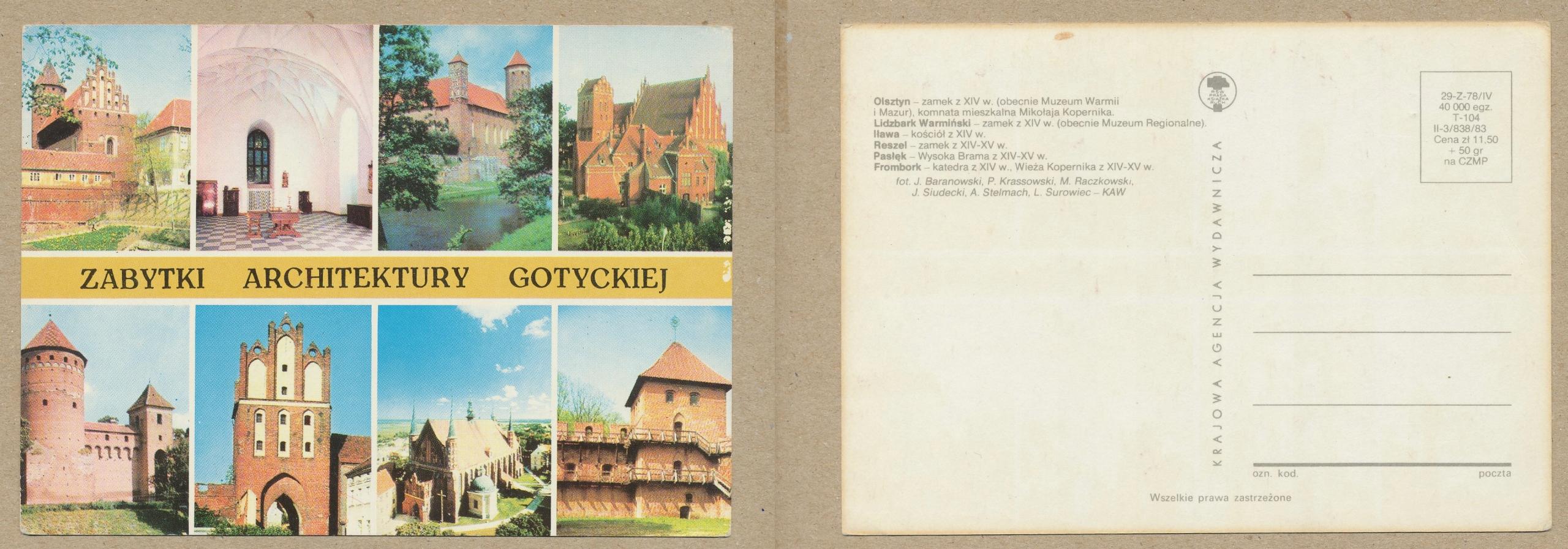 ZABYTKI ARCHITEKTURY GOTYCKIEJ OLSZTYN 1983 r.