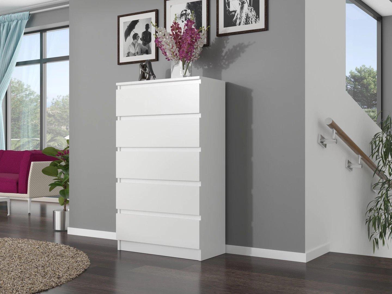 БОЛЬШОЙ КОМОД С 5 ЯЩИКАМИ ШКАФ БЕЛЫЙ ПОЛЬСКАЯ МЕБЕЛЬ Цвет мебели Белый