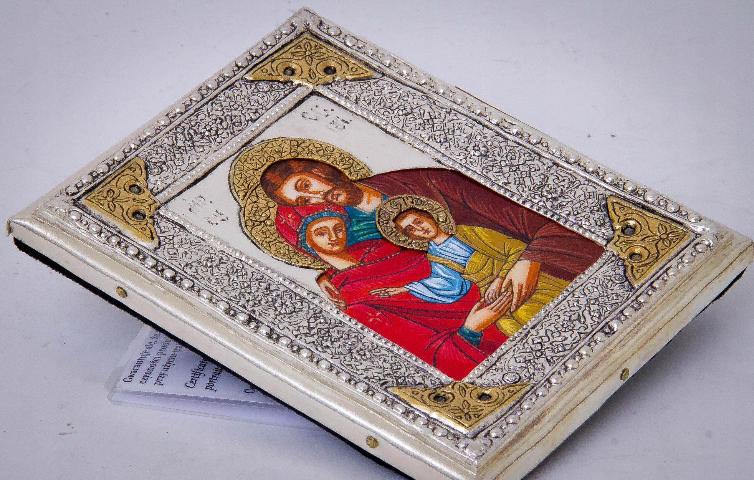 Ikona Św. Rodziny z Nazaretu! malowana nr 111P Szerokość 15 cm