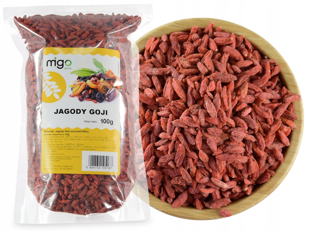 Item GOJI BERRIES are Dried Fruit, Natural 100 g