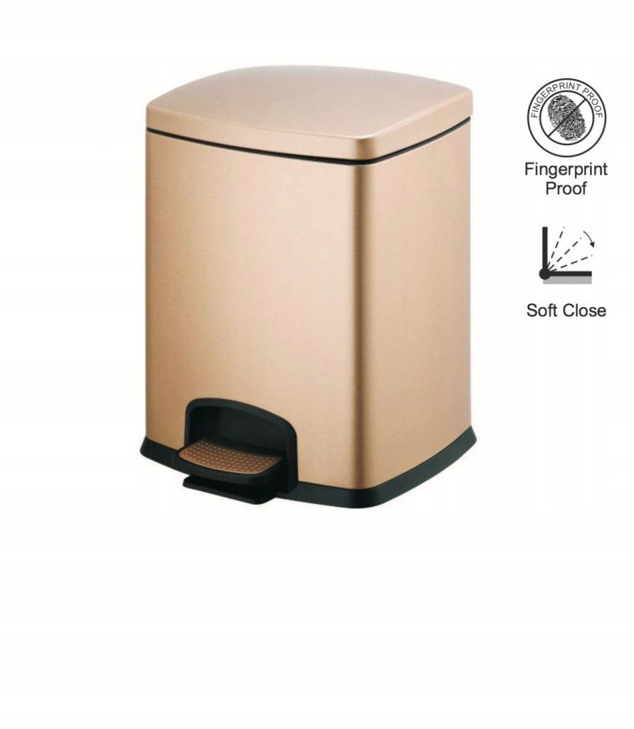 Odpadkový kôš PREMIUM obdĺžnikový 12L STELLA zlatý