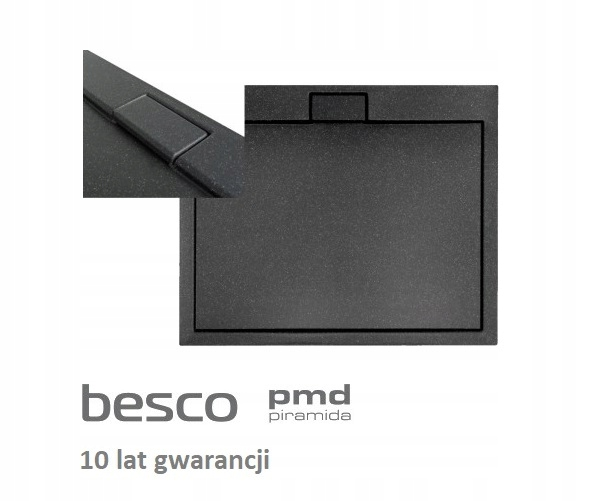 PL BRODZIK CZARNY 80X80 cm EFEKT KAMIENIA +SYFON Kształt kwadratowy