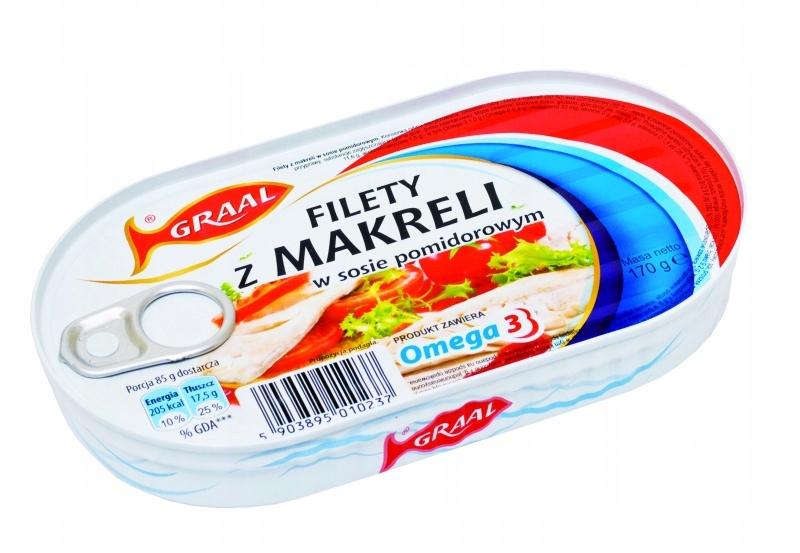 Купить Филе скумбрии в томатном соусе 170гр Грааль 3шт. на Otpravka - цены и фото - доставка из Польши и стран Европы в Украину.