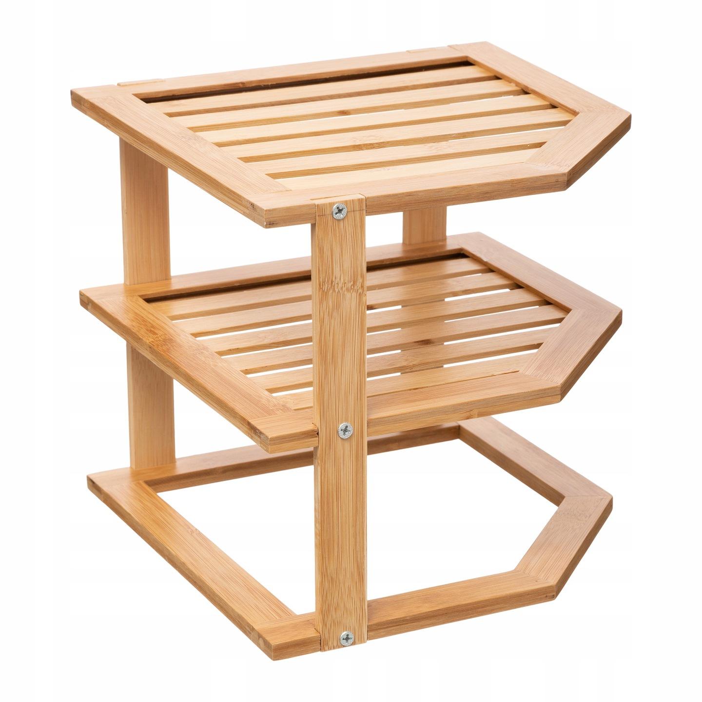 Półka narożna kuchenna łażienkowa bambus 3 poziomy