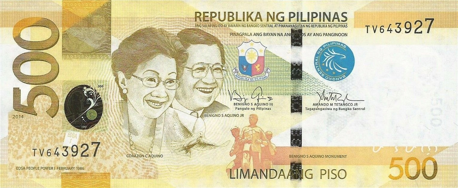 FILIPINY 500 Piso 2014 P-210 UNC